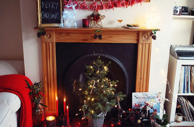 Winter Fireplace Display with Laura Ashley hero