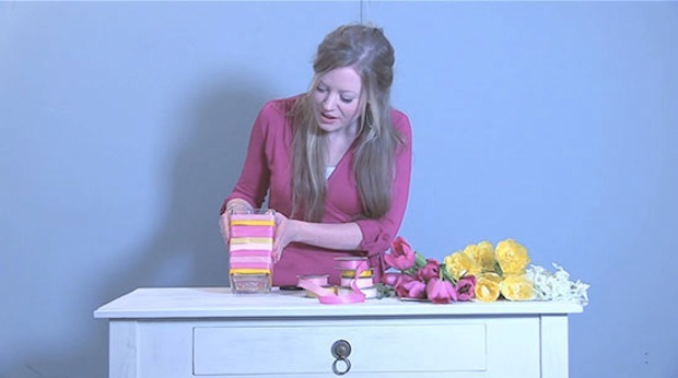 Craft-Idea-Ribbon-flower-vase-The-Relaxed-Home-video-4