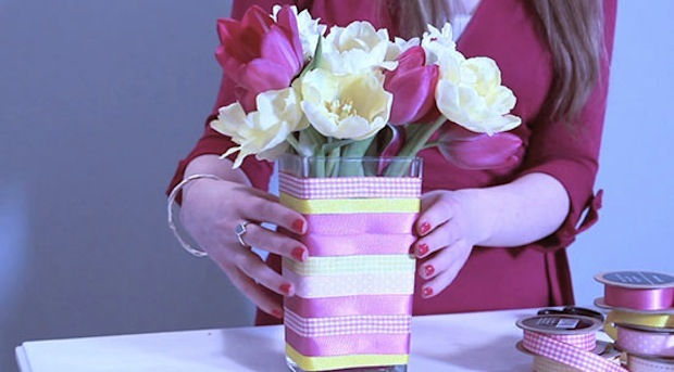 Craft-Idea-Ribbon-flower-vase-The-Relaxed-Home-video-7