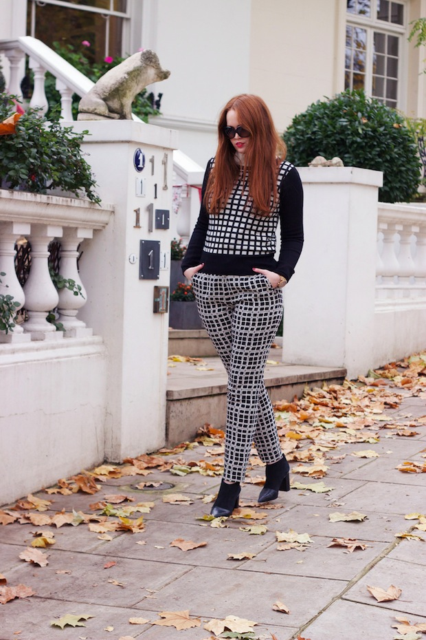 Laura Ashley archive print trousers, Studio Nicholson coat, See by Chloe boots, Chanel sunglasses