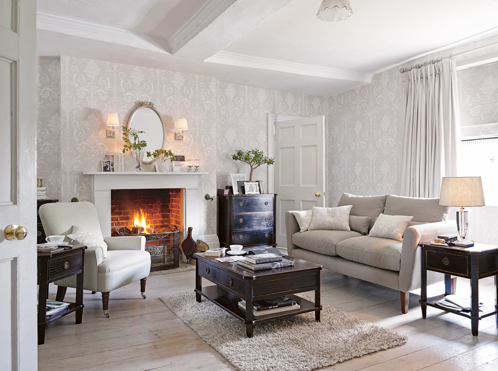 What makes a house a home laura ashley blog for Grey lounge wallpaper