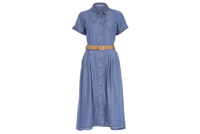 Belted Denim Midi Dress
