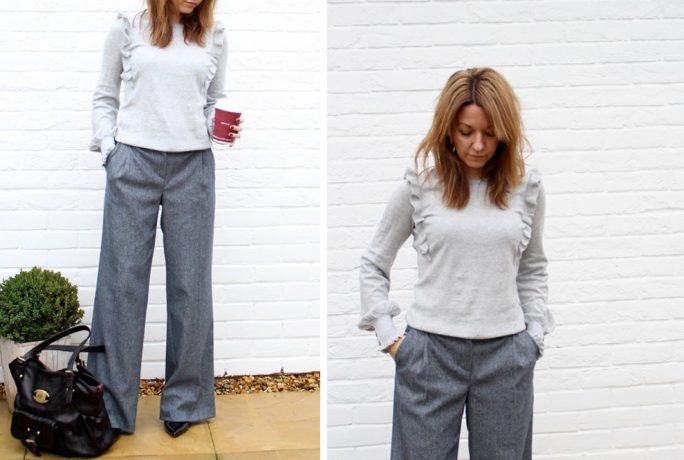 Mummy Of Boy Girl Twins Grey Ruffle Jumper Wide Leg Trousers