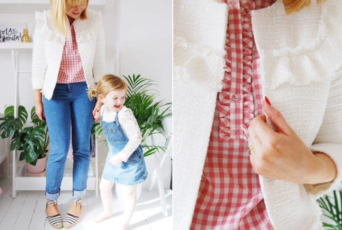Brick Dust Glitter Gingham Blouse Boucle Coat Straight Leg Jeans