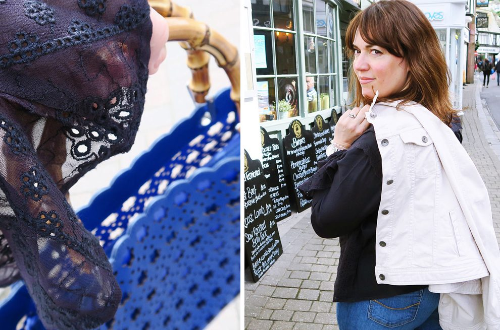 The Twinkle Diaries Denim Jacket Necklace Blue Bag Navy Blouse