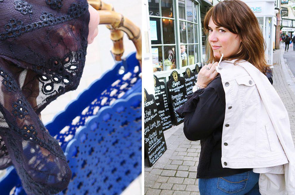 The Twinkle Diaries Denim Jacket Necklace Blue Bag Navy Blouse