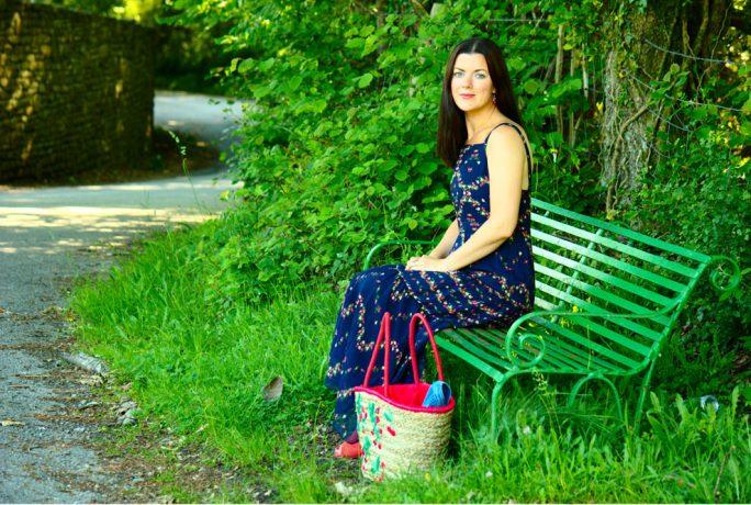 Rachel The Hat Blue Maxi Dress Cherry Bag Denim Jacket