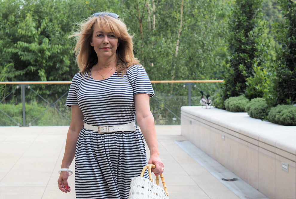 Vanity And Me Navy Striped Maxi White Bag