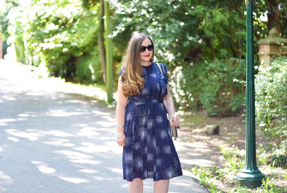 Jacquard Flower Starburst Dotty Ruffle Tea Dress