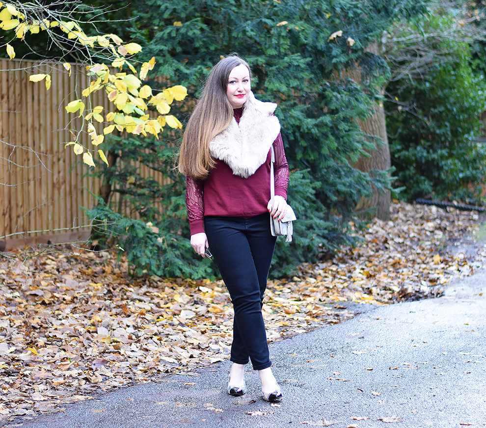 27a0435997a Daytime Look – Burgundy Lace Sleeve Jumper and Cream Lux Faux Fur Wrap