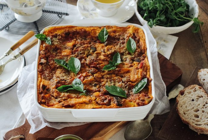 Vegetarian lasagne with cheesy squash sauce