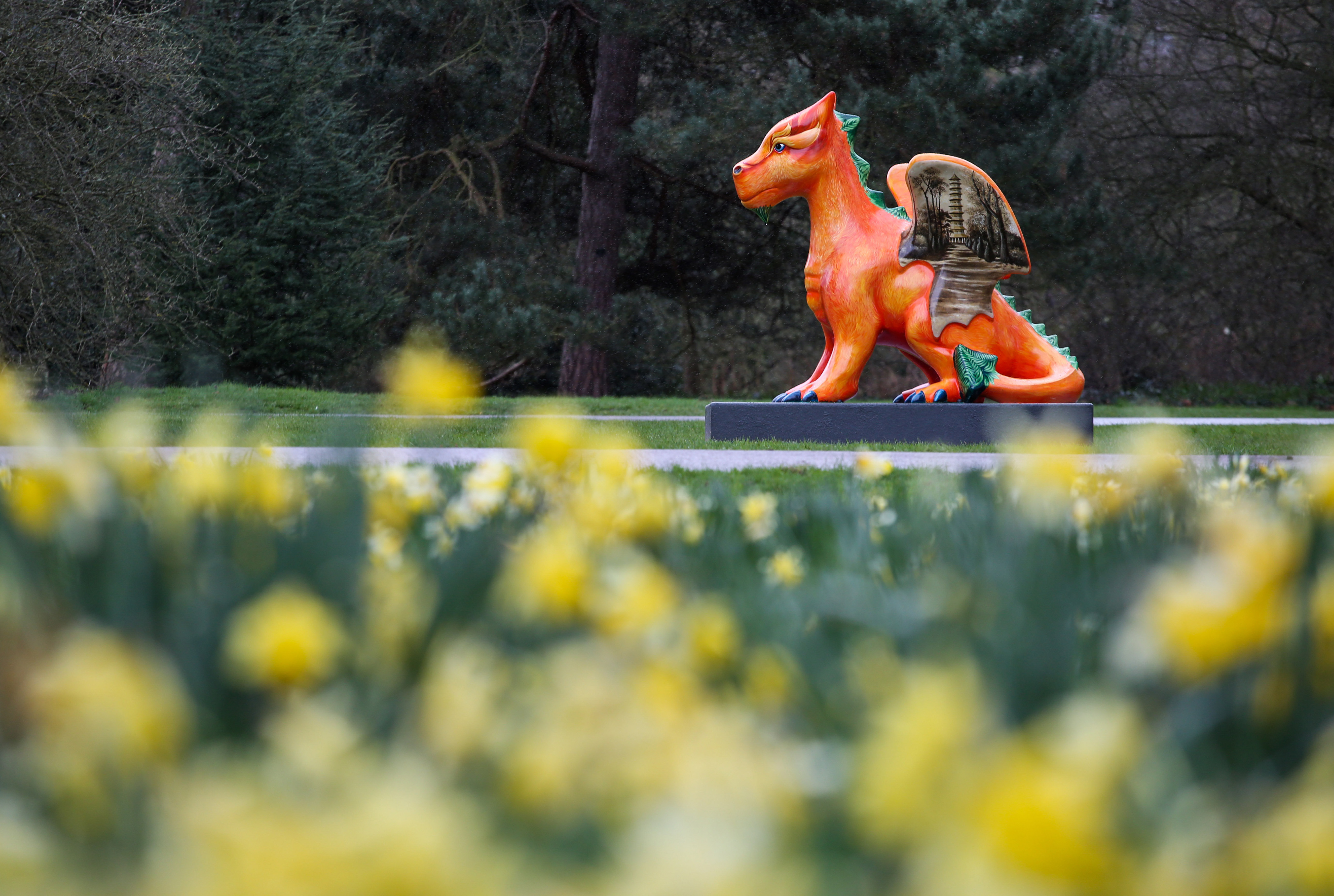 Kew Gardens new Here Be Dragons trail which runs from March 30 to September 30 2018. Here Be Dragons began in 2017 with a competition run by Blue Peter to design a dragon. The five top runner-up designs have been created into dragon sculptures by Wild in Art artists. March 29 2018.