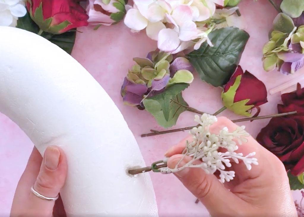 Make-a-Silk-Flower-Wreath-gluing-the-flower