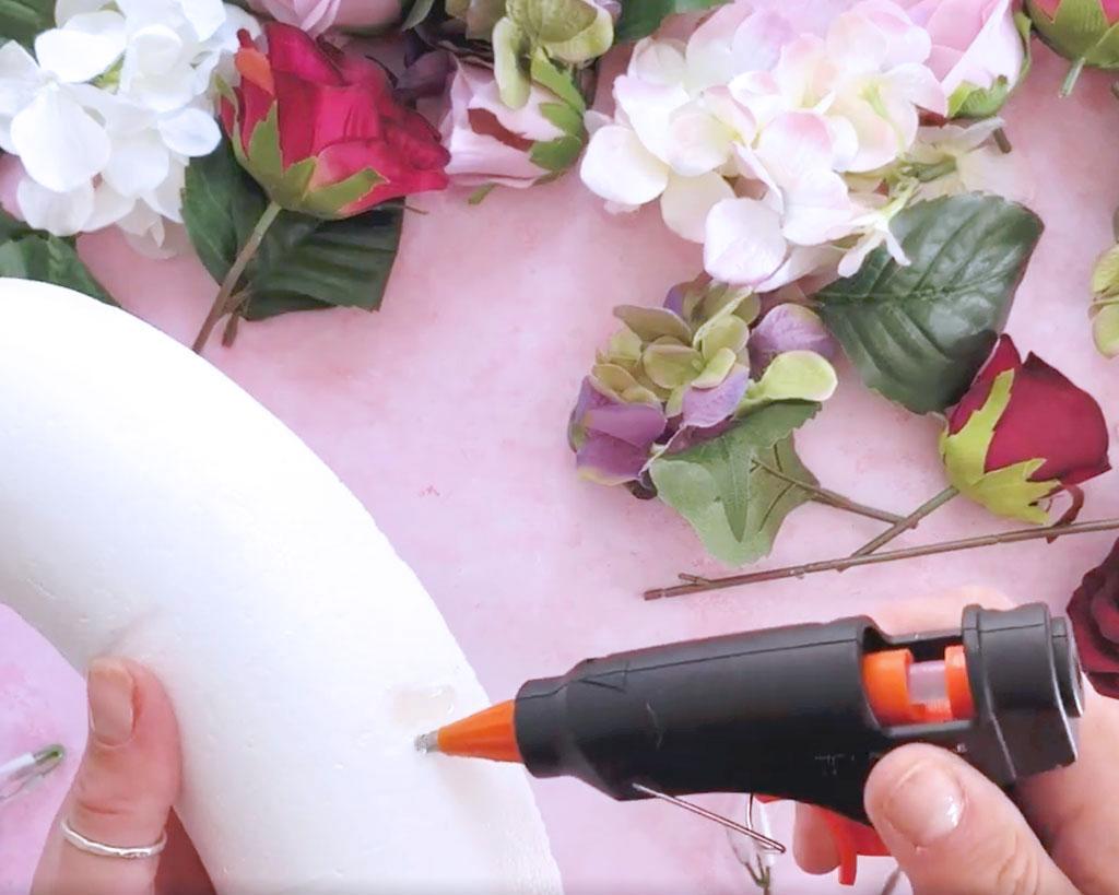 Make-a-Silk-Flower-Wreath-gluing-the-hole