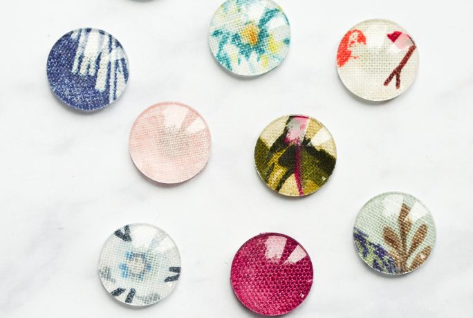 DIY fabric tile fridge magnets